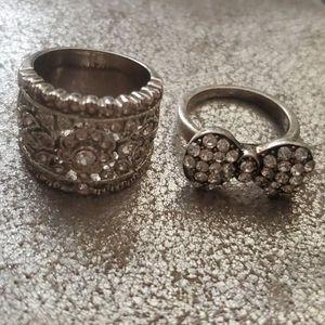 Silver rhinestone guess rings bow flower set 7